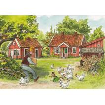 Pettersson in the Yard - Postcard