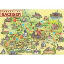 Saxony - Map - Postcard