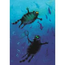 Der blaue Abgrund - Blaue Katzen - Postkarte