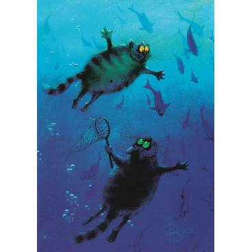 Blue Abyss - Blue Cats - Postcard