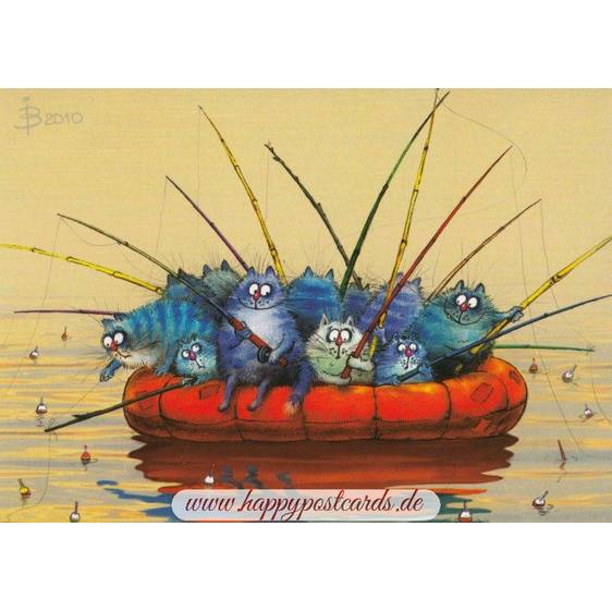 Teamwork - Blue Cats - Postcard
