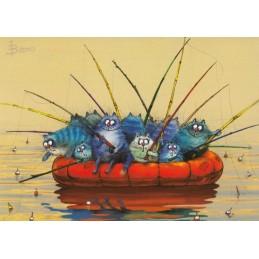 Teamwork - Blaue Katzen - Postkarte