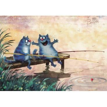 So groß war er! - Blaue Katzen - Postkarte