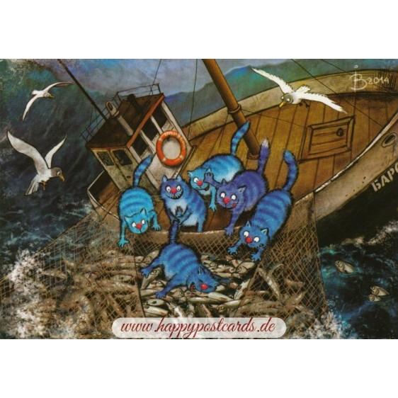 Fischsaison - Blaue Katzen - Postkarte