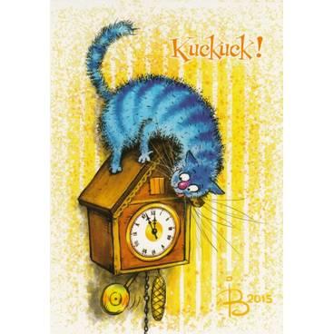 Kuckuck! - Blaue Katzen - Postkarte