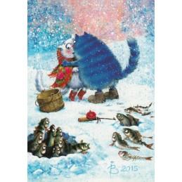 Gossip Factory - Blue Cats - Postcard