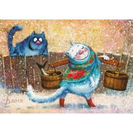 Bleib stehen, meine Schöne! - Blaue Katzen - Postkarte