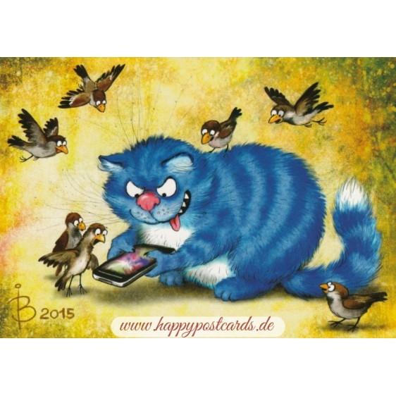 Smartphone - Blue Cats - Postcard
