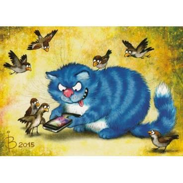 Smartphone - Blaue Katzen - Postkarte