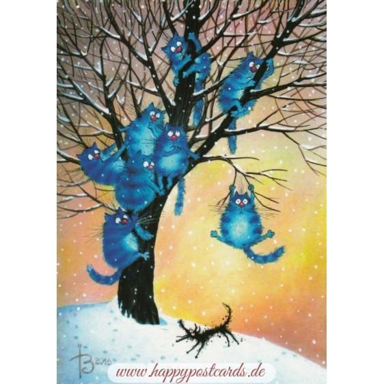 Angst - Blaue Katzen - Postkarte