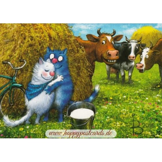 Blaues Tuch - Blaue Katzen - Postkarte