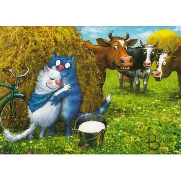 Blue Shawl - Blue Cats - Postcard