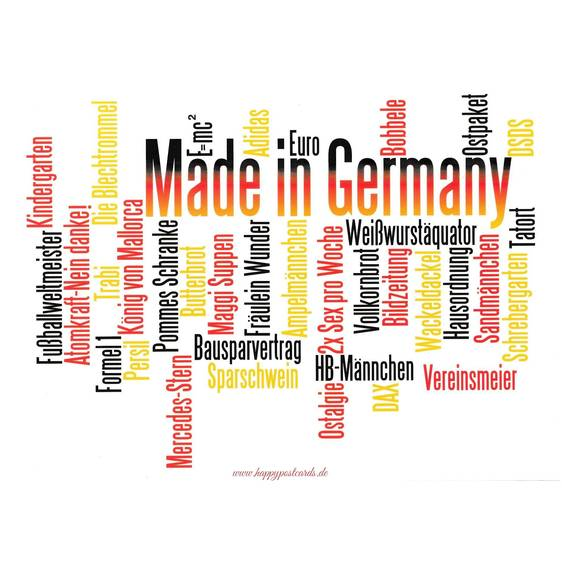 Made in Germany Words - Viewcard