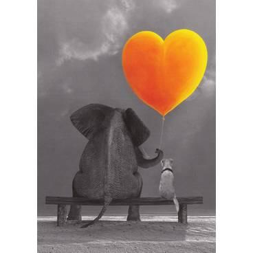 Elefant und Hund - Postkarte
