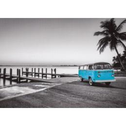 Blue VW-Bus - Postcard