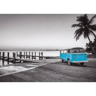 Blauer VW-Bus - Postkarte