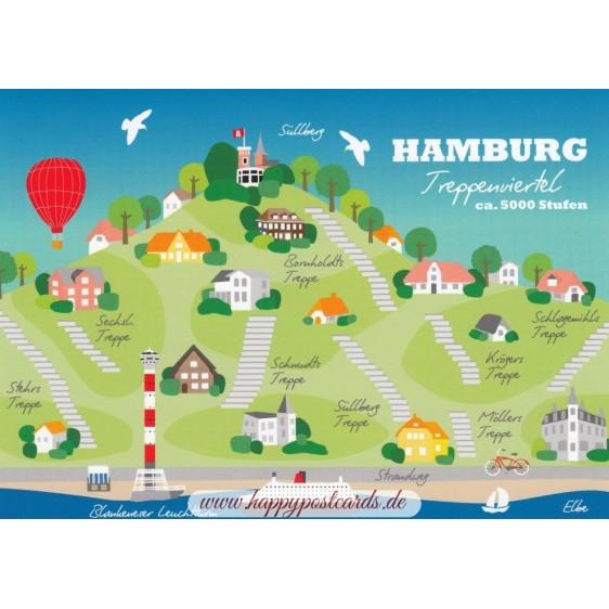 Hamburg Treppenviertel - Map - Postkarte