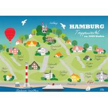 Hamburg Treppenviertel - Map - Postcard