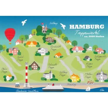Hamburg Treppenviertel - Map - Postcard