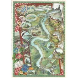Rhine Map - Tausendschön - Postcard
