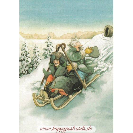 42 - Old Ladies with a Sled - Postcard