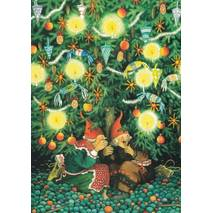 45 - Old Ladies under the Cchristmas tree - Postcard