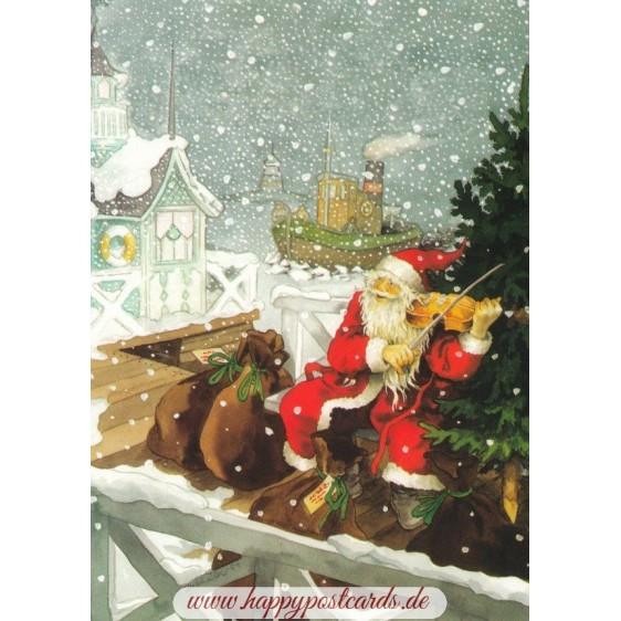 201 - Santa Claus with a Violin - Postcard