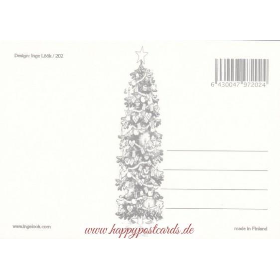 202 - Zwerge mit Schlitten und Schlittschuhen  - Postkarte
