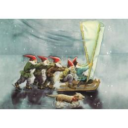 202 - Dwarfs with a Sled and Skates - Postcard