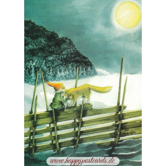 212 - Dwarf with Wolf - Postcard