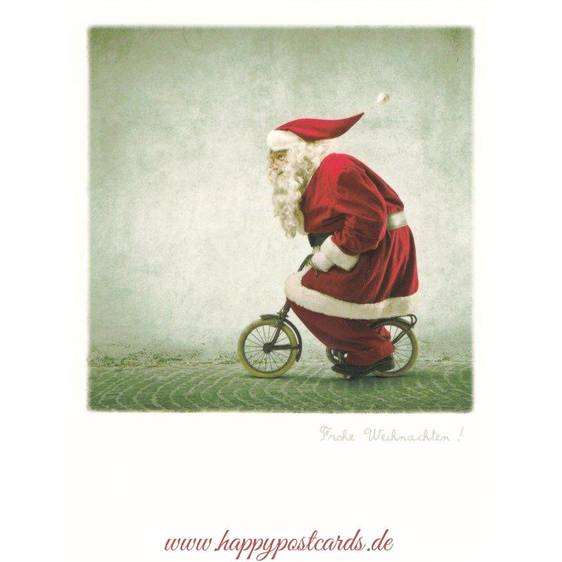 Santa Bicycle/ Frohe Weihnachten - PolaCard