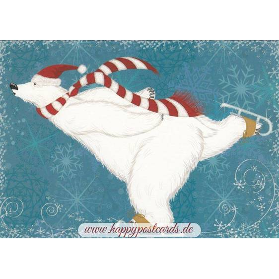 Icebear with Ice-skates - Postcard
