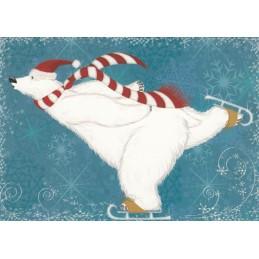 Eisbär mit Schlittschuhen - Weihnachtskarte