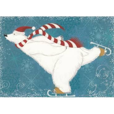 Eisbär mit Schlittschuhen - Postkarte