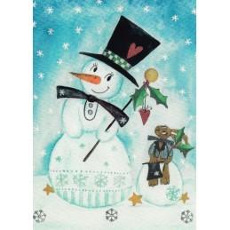 Schneemann und Hase - Weihnachtskarte