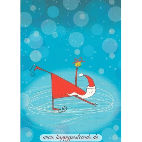 Weihnachtsmann fährt Schlittschuhe - Postkarte
