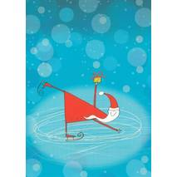 Weihnachtsmann fährt Schlittschuhe - Weihnachtspostkarte