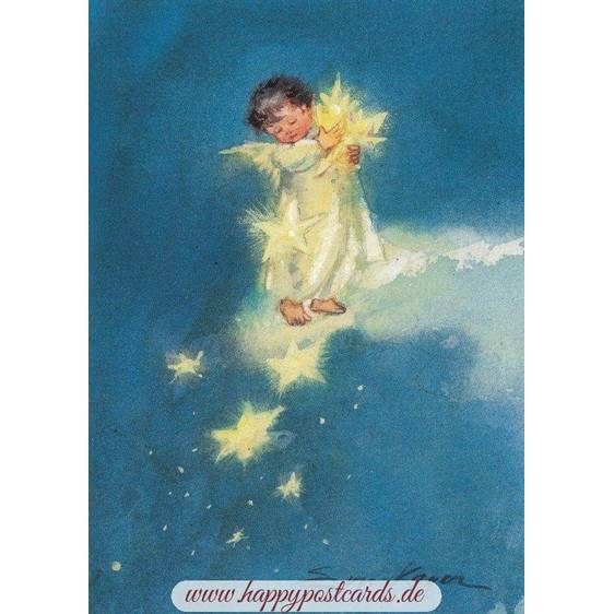 Angel with Stars - Postcard