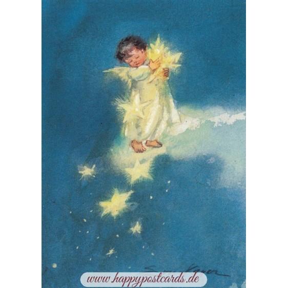 Engelchen mit Sternen - Postkarte