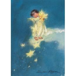 Engelchen mit Sternen - Weihnachtskarte