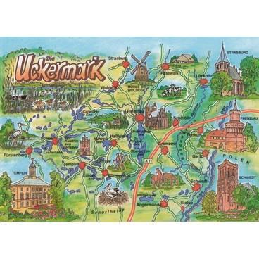 Uckermark - Map - Postcard