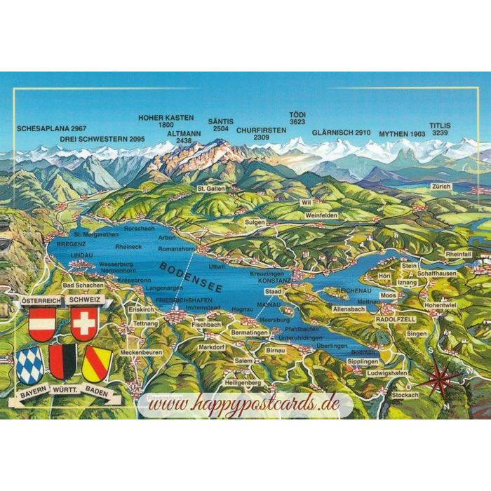Viewcards Maps Bodensee Map Postcard Schoning Verlag
