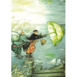 24 - Frauen beim Schlittschuh laufen - Postkarte