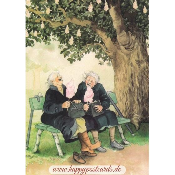 1 - Frauen auf der Bank - Postkarte