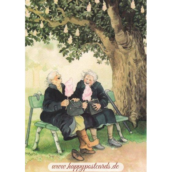 24 - Old Ladies on a Bench - postcard