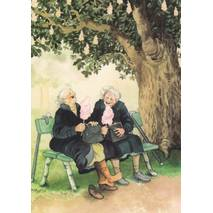 1 - Old Ladies on a Bench - postcard
