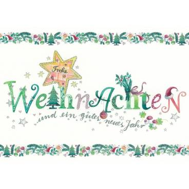 Frohe Weihnachten mit Glimmer - Postkarte