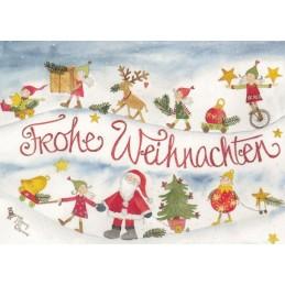 Frohe Weihnachten mit Weihnachtsmann - Weihnachtspostkarte