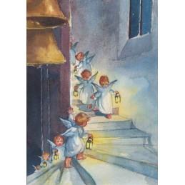 Engelchen mit Laternen - Weihnachtspostkarte