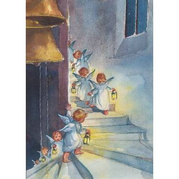 Engelchen mit Laternen - Postkarte